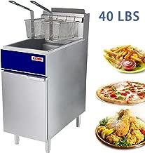 Premium Commercial Deep Fryer - KITMA 40 lb. Liquid Propane 3 Tube Floor Fryer with 2 Fryer Baskets - Restaurant Kitchen Equipment for French Fries, 90,000 BTU/h