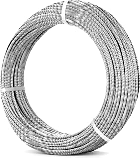 316 1/8'' Stainless Steel Cable for Railing Kit 170FT (52m) | 7x7 Stainless Steel Wire Railing Aircraft Cable Tensioner for Cable Railing Hardware, Deck, Trellis, DIY Balustrade