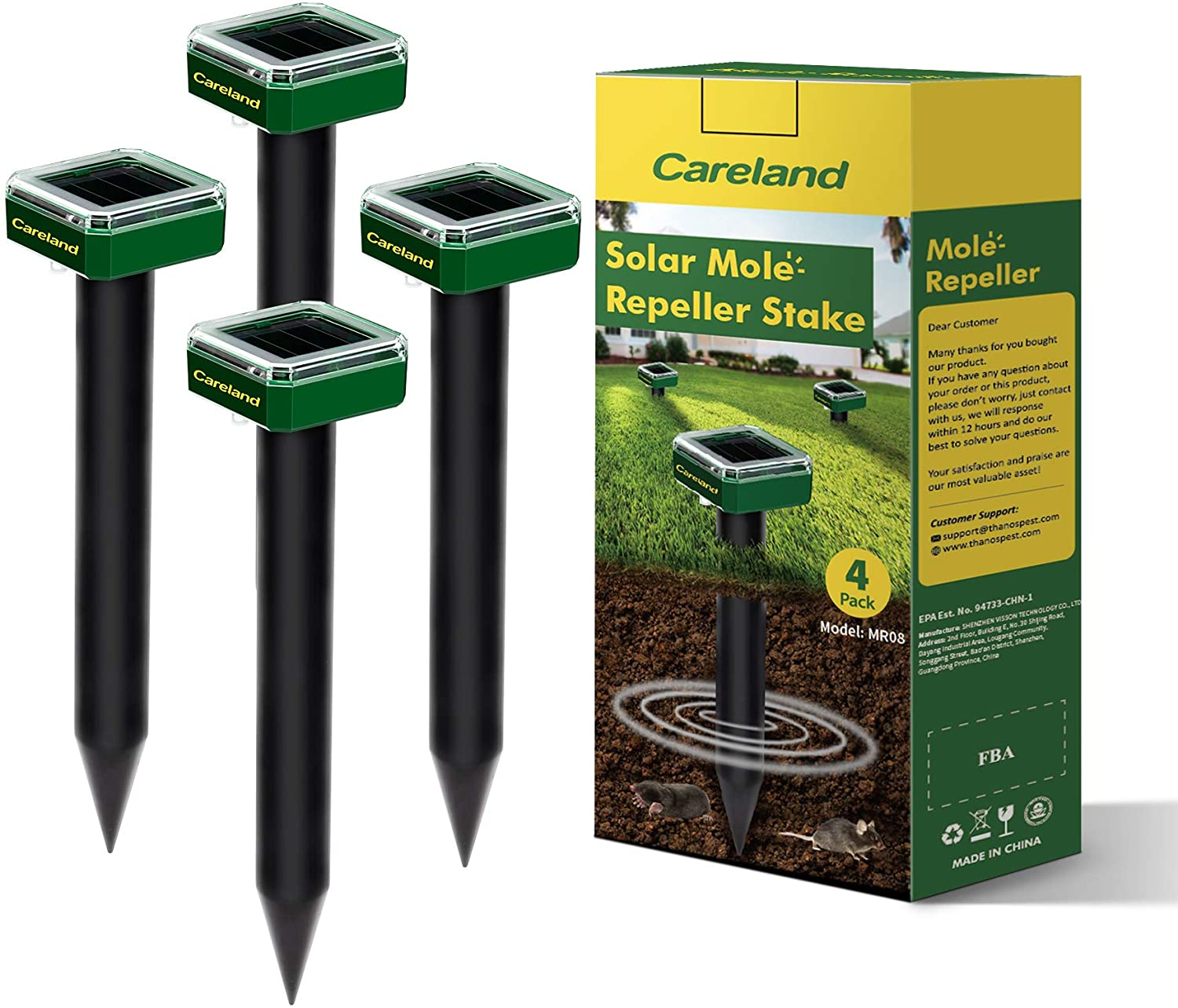 Careland Solar Mole Repellent Sonic Groundhog Repeller Stakes Gopher Deterrent Spikes Chaser and Get Rid of Voles Burrowing Rodents from Garden Yard (4)