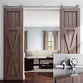 EaseLife 8 FT Double Door Top Mount Modern Sliding Barn Door Hardware Track Kit,Stainless Steel,Anti-Rust,Slide Smoothly Quietly,Easy Install,Fit Double 24
