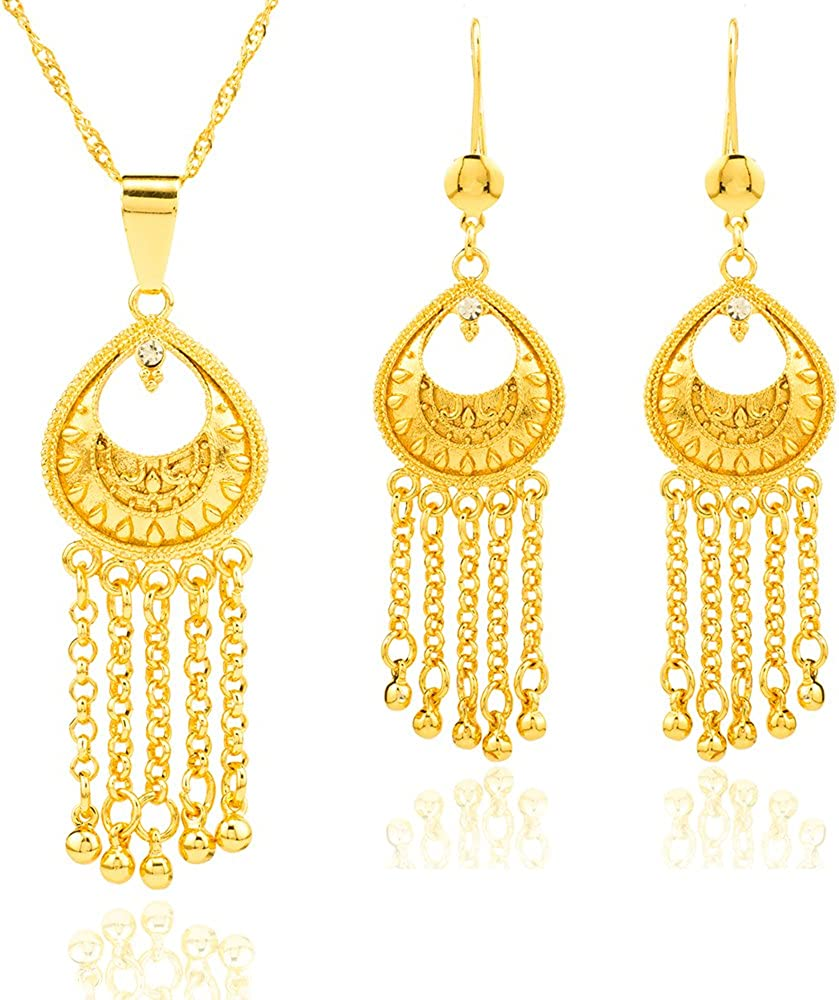 Ethlyn 24K Gold Plated Nigerian Tassel Women Jewelry Classic Ethiopian/Middle East/African Jewelry Sets