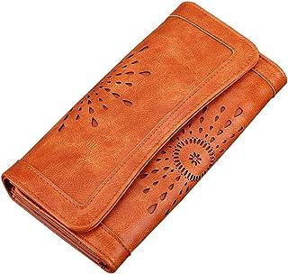 BESTOYARD Wallet Women's Three Fold PU Leather Wallet Long Purse Hollow Clutch Handbag (Orange)