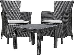 Allibert 219992 Loungeset Rosario Balcony 2 x stoel en 1 x tafel, rotanlook, kunststof, grafiet
