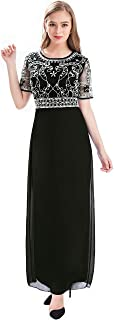 Women Chiffon Beaded Embroidered Sequin Long Gowns Prom Evening Bridesmaid Dress