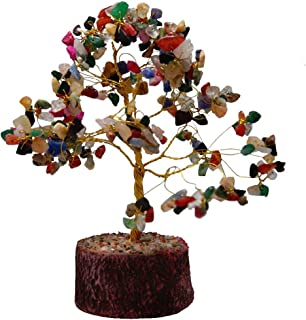 Divya Mantra Feng Shui Natural Multicolor Healing Gemstone Crystal Bonsai Fortune Tree for Good Luck, Wealth & Prosperity-Home Office Table Decor