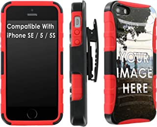 Apple iPhone [SE/5S/5] [Black/Red] Dual Layer Armor with Holster Amazon Custom Tool Create Your Own Custom Phone Case
