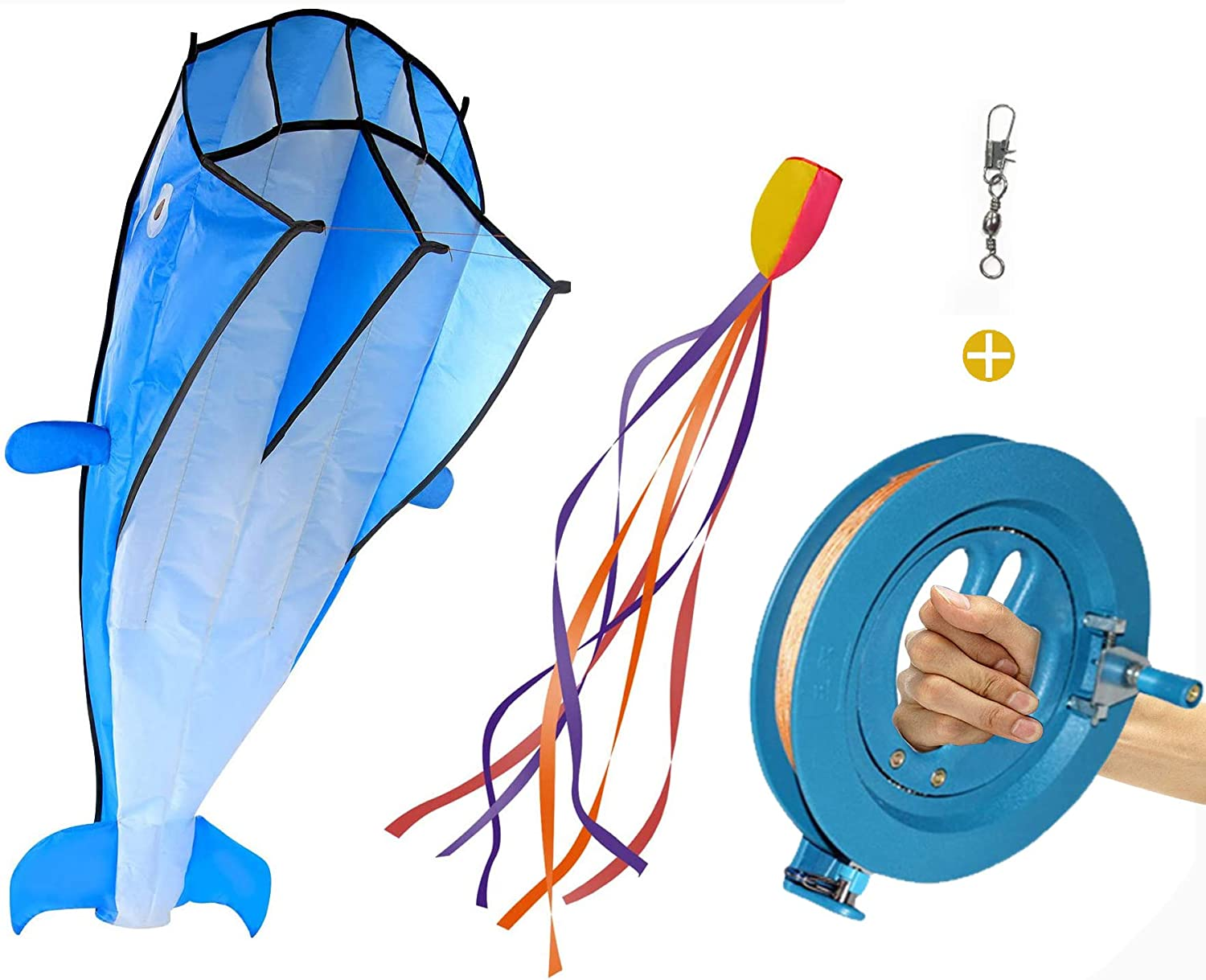 Sutekus Kites Large Dolphin Mail order cheap Beach Max 43% OFF Reel Fram Kite Line with