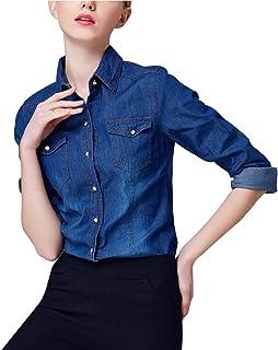 47edda00ca6 Yeokou Women s Classic Long Sleeve Button Down Denim Chambray Jean Shirt