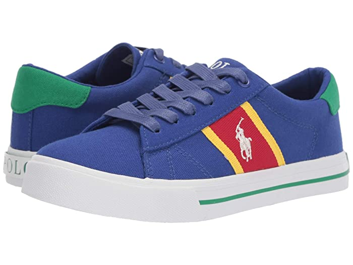 Polo Ralph Lauren Kids  Geoff (Big Kid) (Royal Canvas/YellowithRed/Paperwhite Pony) Boys Shoes