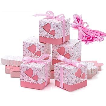 Meersee Cajas de Boda Regalo 100 Cajas de Bautizo Caramelo Cumpleaños Dulces Bombones Regalos Detalles con Cintas para Invitados de Boda Fiesta Comunion, Bautizo Cumpleaños (Rosado): Amazon.es: Hogar