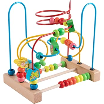 Jacootoys Toddlers Bead Maze Roller Coaster Animal Circle Toys Educational Abacus Beads Game for Boys Girls Baby Gift