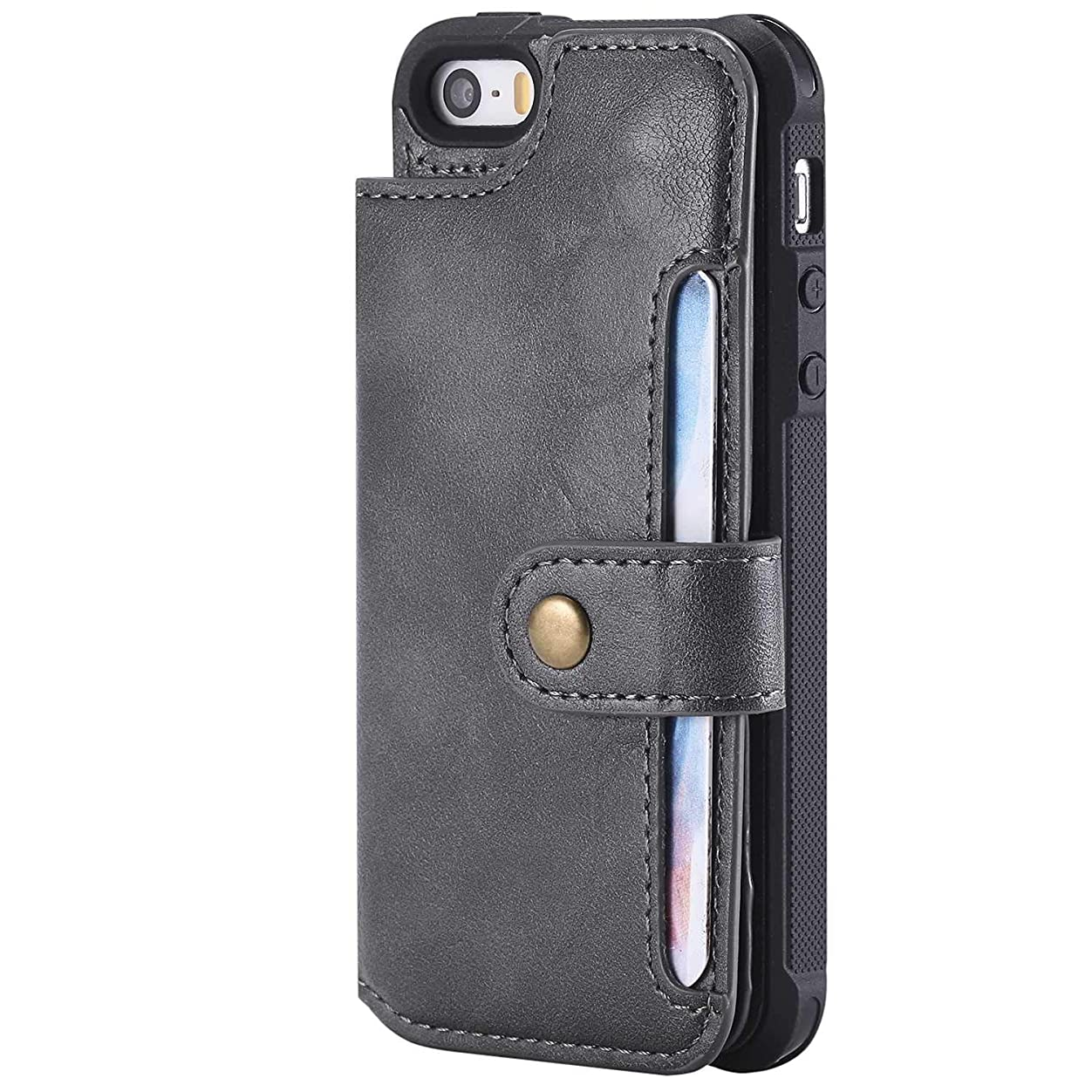 オーナメント兵器庫以下iPhone SE/iPhone 5 5s 手帳型 ケース, CUSKING 保護ケース 軽量 薄型 カードポケット付き Apple iPhone SE/iPhone 5 5s 財布型 カバー ノート型 PU レザー ケース, グレー