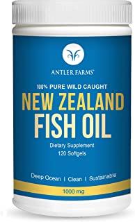 Antler Farms - 100% Pure Wild Caught New Zealand Fish Oil from Deep Ocean, Cold Water Fish, 120 Softgels - Clean, Fresh Om...