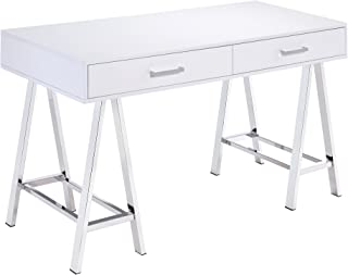 ACME Furniture Acme Coleen Desk, White & Chrome, One Size