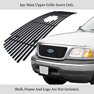 APS Compatible with 1999-2003 Ford F-150 Harley Davidson Lightning Honeycomb Style with Logo Show Main Upper Stainless Steel Black 8x6 Horizontal Billet Grille Insert F65722J