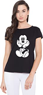 American-Elm Women's Black Cap Sleeves White Micky Mouse Printed T-Shirt