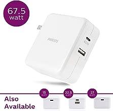 Philips 60W USB-C Wall Charger, For iPhone 11/Pro/Max/XS/XR/X/8, iPad Pro/Air/Mini, MacBook Pro/Air, Samsung Galaxy S10/S9/Plus, Google Pixel, 67.5W USB-C & USB Port Total Power, White, DLP2607Q/37