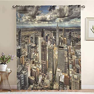 Melbourne Cityscape Modern Australia Architecture Buildings Metropolis Dramatic Sky Extra Wide Sheer Window Curtain Panel for Large Window,Sliding Glass Door,Patio Door,1 panel,102 x 84 Inch,Multicolo