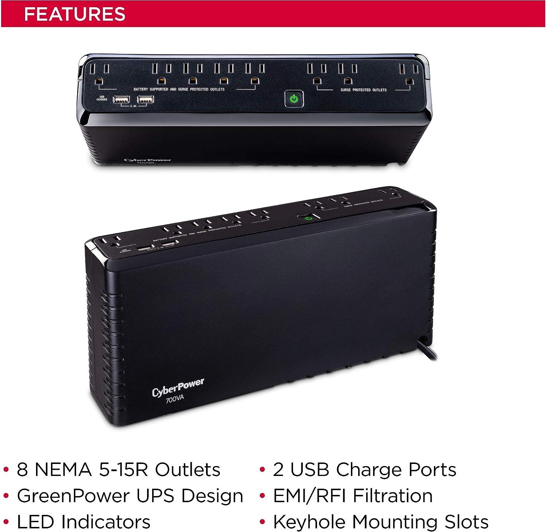CyberPower SL700U Standby UPS System, 700VA/370W, 8 Outlets, Slim Profile