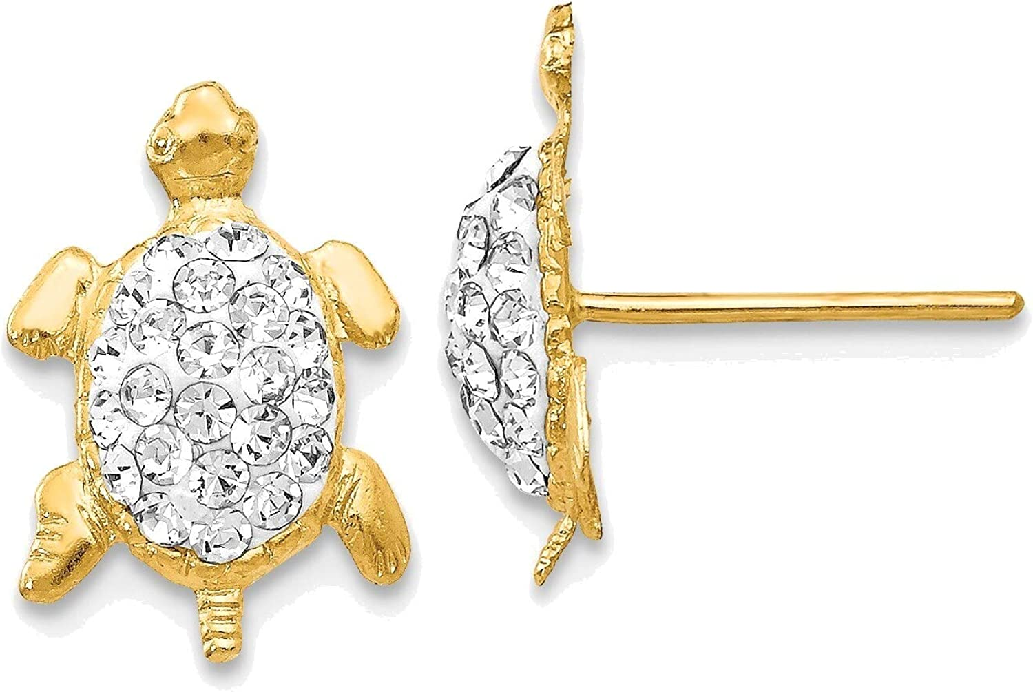 Crystal White Turtle Post Earrings in 14K Yellow Gold
