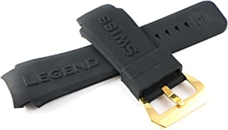 31MM Black Silicone Rubber Watch Strap & Gold Stainless Buckle fits 47mm Ambassador Watch