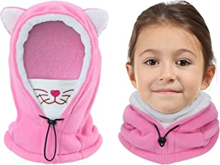 Vorshape Kids Balaclava Ski Mask, Cold Weather Fleece Face Mask with Hood, Windproof Outdoor Winter Hat for Boys & Girls