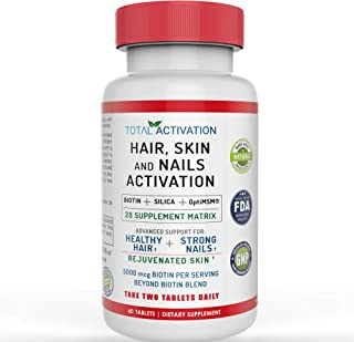 Hair, Skin and Nails Growth Formula, 5000 mcg Biotin, Silica, OptiMSM, Healthy Hair Formula, Strong Nails, Firm Skin, 28 Supplement Multi Vitamin Blend for Men and Women, 60 Tablets