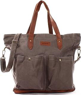 LECONI XL Shopper aus Canvas & Leder Vintage-Style Weekender Umhängetasche große Damen Tasche unisex Schultertasche Handgepäck-Tasche Beuteltasche 35x39x20cm LE0040-C