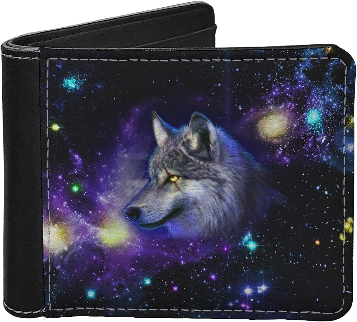Aoopistc Galaxy Space Wolf Men's Wallets Novelty N Starry Special New sales price Purple