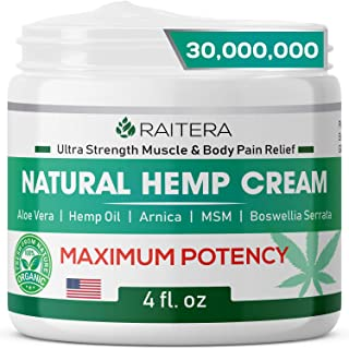Sponsored Ad - Raitera Hemp Cream 30,000,000 for Relief from Pain Pure Hemp Oil Extract, MSM, Arnica - Natural Ingredients...
