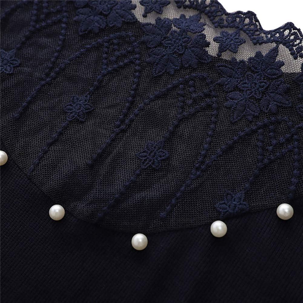 Loalirando Maglia di Pizzo a Manica Lunga Maglie Donna in Tulle Top con Perle Scollo a V Trasparente Autunno Inverno Primavera