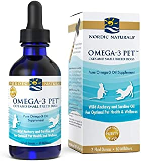 Nordic Naturals Omega-3 Pet, Unflavored - 304 mg Omega-3 Per One mL - 2 oz - Fish Oil for Cats & Dogs with EPA & DHA - Pro...