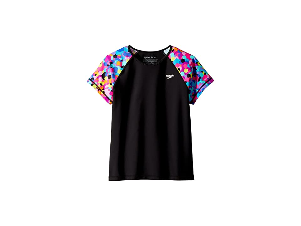 Speedo Kids Printed Short Sleeve Rashguard (Little Kids/Big Kids) (New Black) Girl