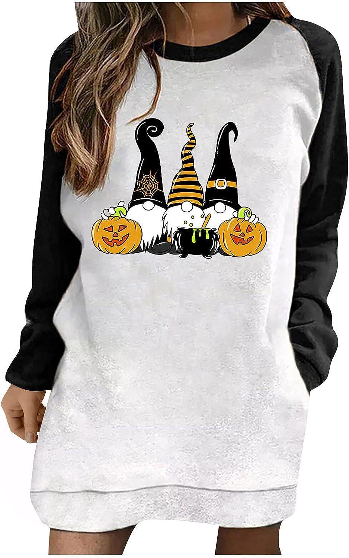 Women Halloween Long half Sleeve Tunic Tops Pumpkin Graphic 70% OFF Outlet Crewneck
