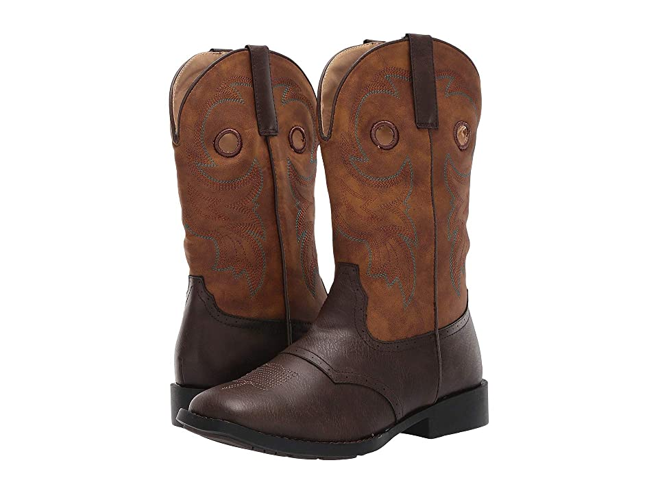 Roper Kids Daniel (Big Kid) (Brown Vamp/Vintage Tan Shaft) Cowboy Boots