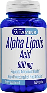 Alpha Lipoic Acid 600mg 180 Capsules - 6 Month Supply - Alpha Lipoic Acid Capsules Helps Support Antioxidant Health Along ...