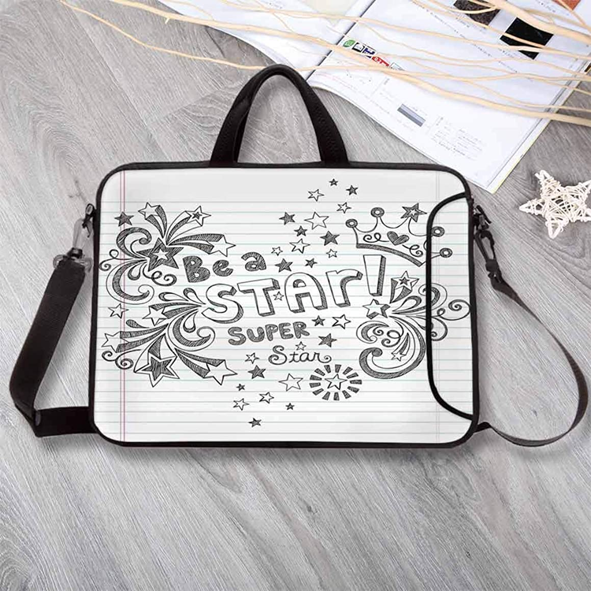 """Teen Room Decor Custom Neoprene Laptop Bag,Be A Super Star Phrase on Notebook Paper Backdrop with Stars Crown Print Laptop Bag for Men Women Students,8.7""""L x 11""""W x 0.8""""H"""