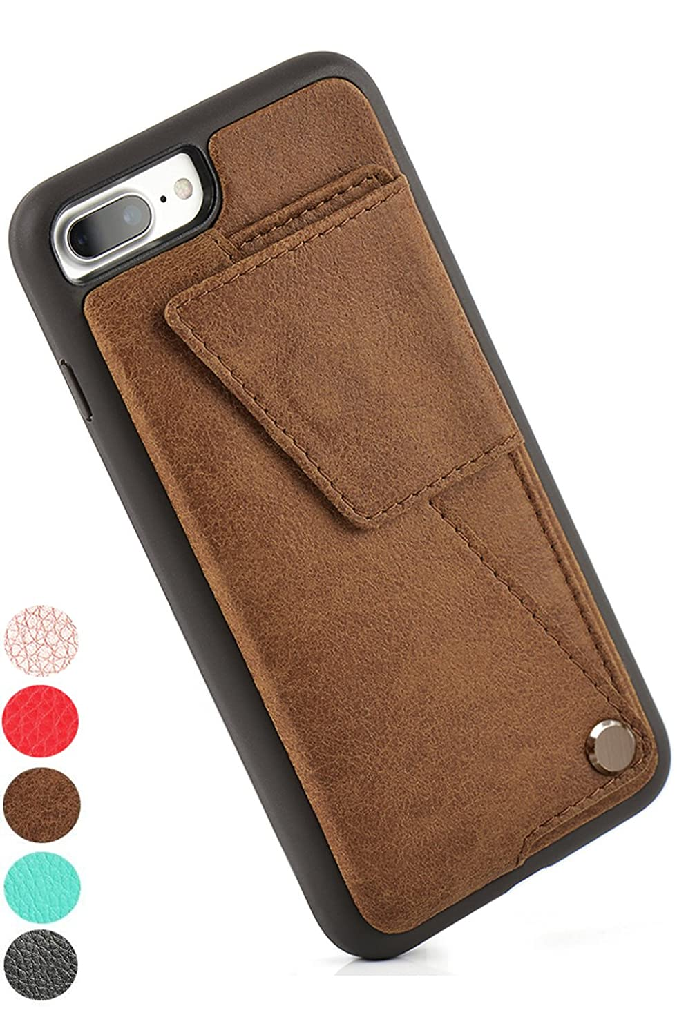 iPhone 7 Plus Wallet Case, ZVEdeng iPhone 8 Plus Wallet Case with Card Holder, iPhone 8 Plus Card Case, iPhone 7 Plus Credit Card Case, Leather Protective Cover Case for Men Women - Brown