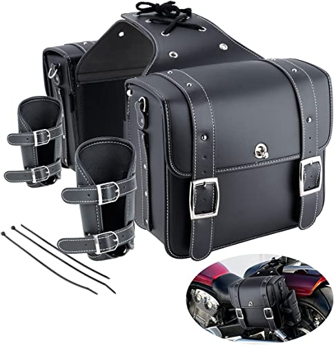 Motorcycle Saddlebags Motorcycle Throw Over Saddlebags with Cup Holder & Lock Black Soft PU Leather Side Saddle Bag for Sportster Softail Dyna Road King