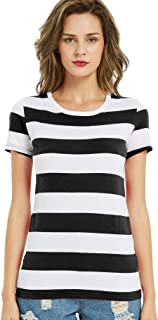 Striped Shirt Women Short Sleeve Wide Stripes T Shirts Crew Neck Cotton Top Tees
