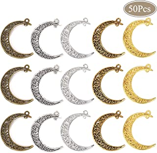 OBSEDE Hollow Moon Charms Luna Crescent Symbol Filigree Pendants for DIY Jewelry Making Accessories Craft Supplies 50pcs