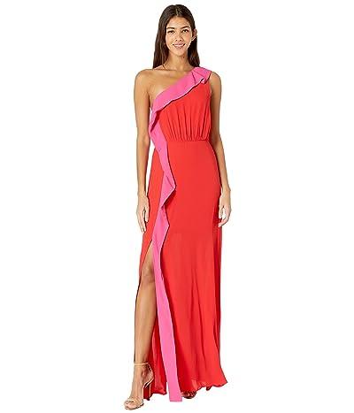 BCBGMAXAZRIA Color-Blocked Gown (Rosso Combo) Women