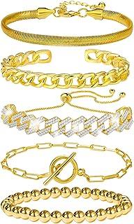 5 Pcs Chain Link Bracelet For Women,14K Gold Plated Dainty Adjustable Cuban Paperclip Bead Bracelets Bangle For Women Girl...