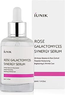 iUNIK Rose Galactomyces Synergy Face Serum, 1.71 Fl Oz -Natural Fermented Rose Water Hydrating Ampoule Serum - Moisturizin...