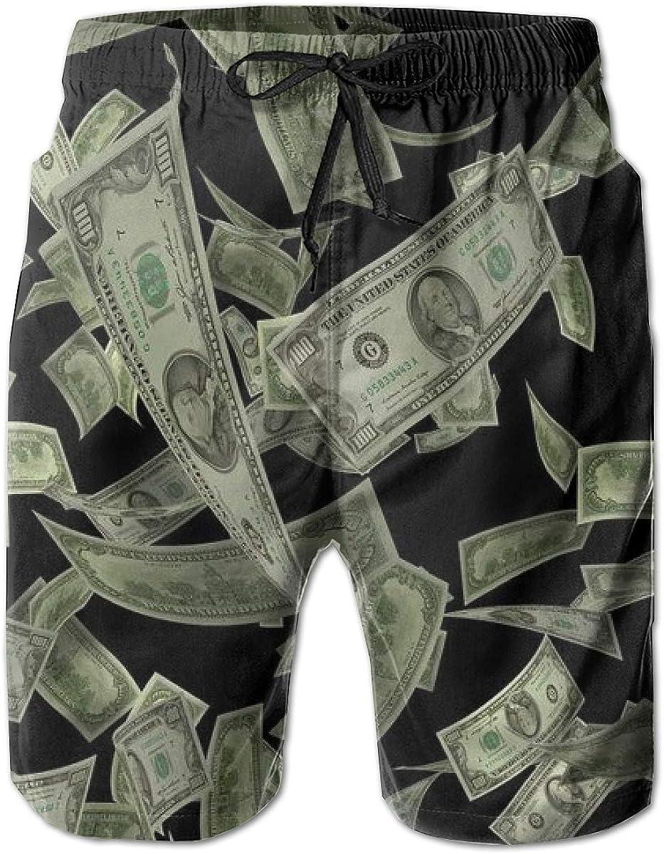 INWANZI Men Beach Board Shorts Swim Trunks Bathing Suit - Dollar Sign Money