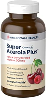 American Health Super Acerola Plus Chewable Wafers, Natural Berry Flavored Vitamin C - 500 mg, 100 Total Servings