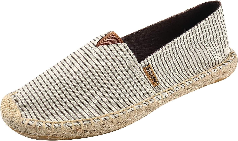 Alexis Leroy Men's Traditional Flat Marine Stripe Espadrilles