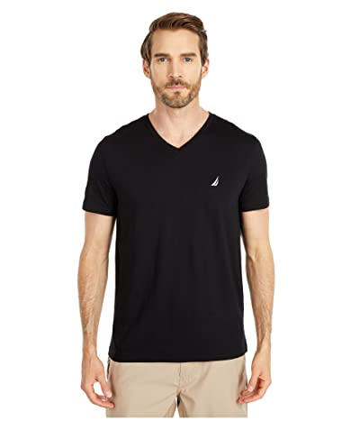Nautica Short Sleeve V-Neck Tee (Black) Men