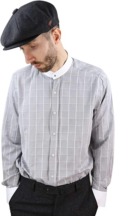 1920s Men's Fashion UK | Peaky Blinders Clothing Mens Blinders Shirt Removable Collar Penny Button Check Nehru Collarless £28.99 AT vintagedancer.com