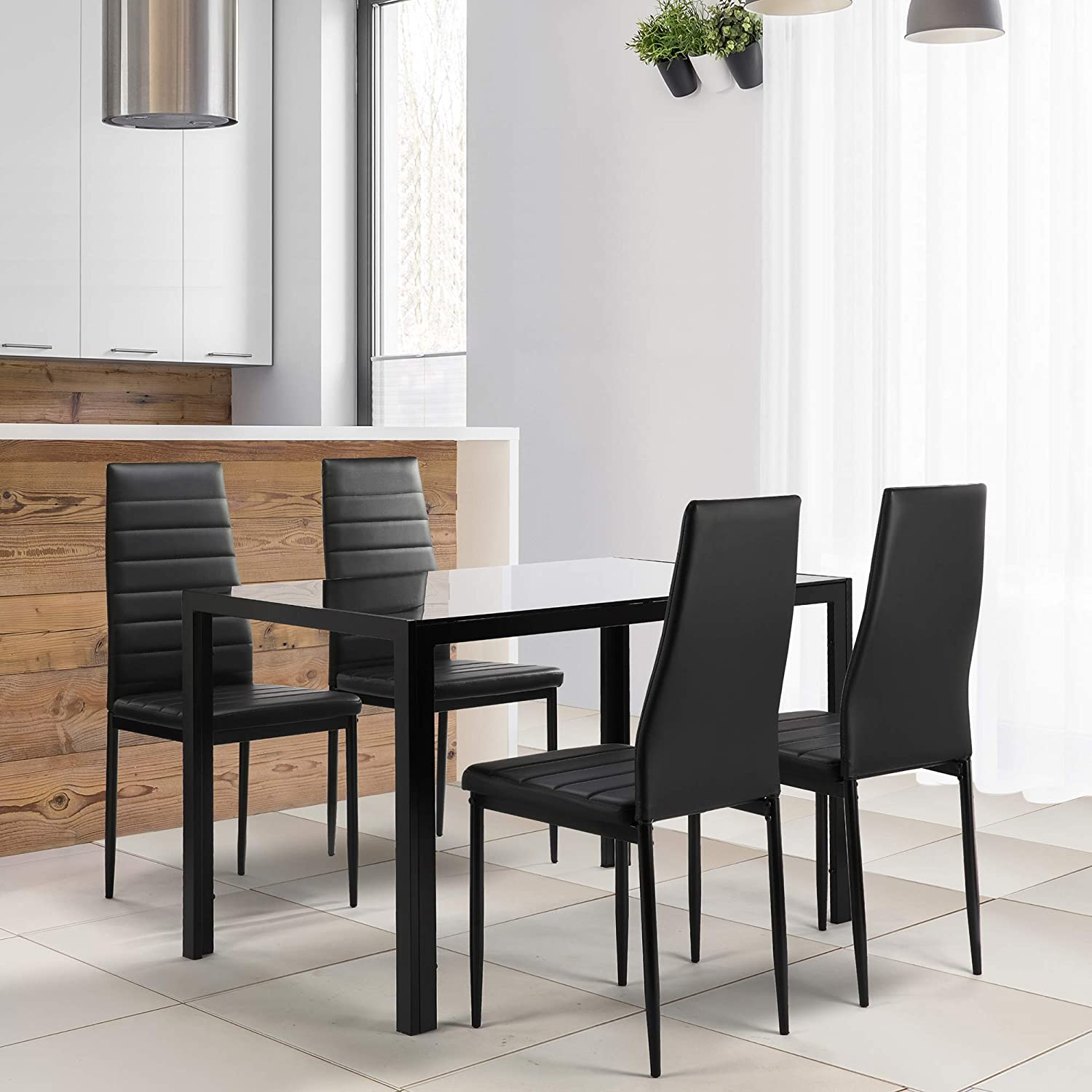 Baysitone 5 Pieces Dining Table 《週末限定タイムセール》 Set 特売 Tabl Tempered Top Glass with